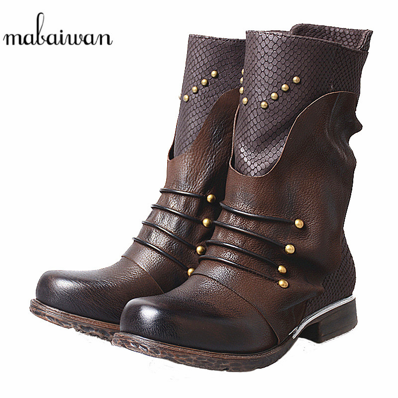 Mabaiwan Fashion Rivet Genuine Leather Women's Shoes Winter Ankle Boots Thick Heel Flats Shoes Women Military Short Martin Boots mabaiwan black winter snow martin ankle boots women shoes genuine leather flats retro military cowboy boots rivet zapatos mujer