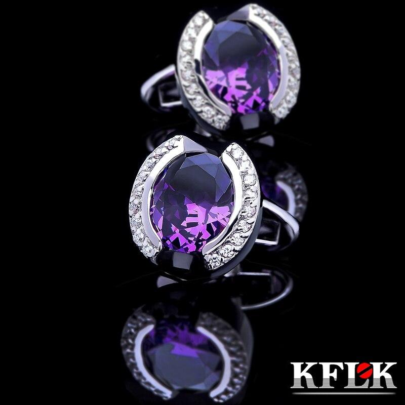KFLK Jewelry shirt cufflink for mens Brand Purple Crystal Cuff link Luxury Wedding Groom Button High Quality Free Shipping