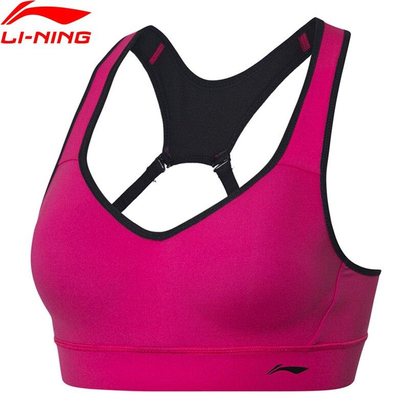 Li-Ning Femmes Formation Série soutien-gorge de Sport de Soutien Moyen Ajustement Serré Nylon Spandex Polyester Doublure Sport hauts AUBP024 WBJ193