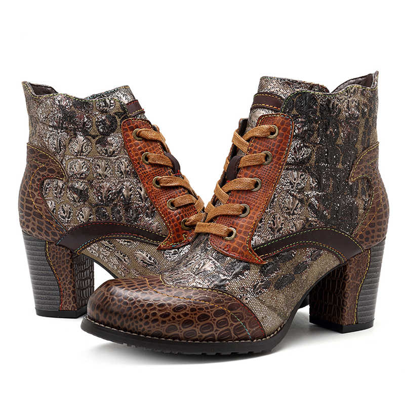 Socofy Retro ผู้หญิงฤดูหนาวรองเท้าหนังแท้ Splicing ข้อเท้ารองเท้าสำหรับรองเท้าผู้หญิงฤดูใบไม้ร่วงบล็อกรองเท้าส้นสูง Botas