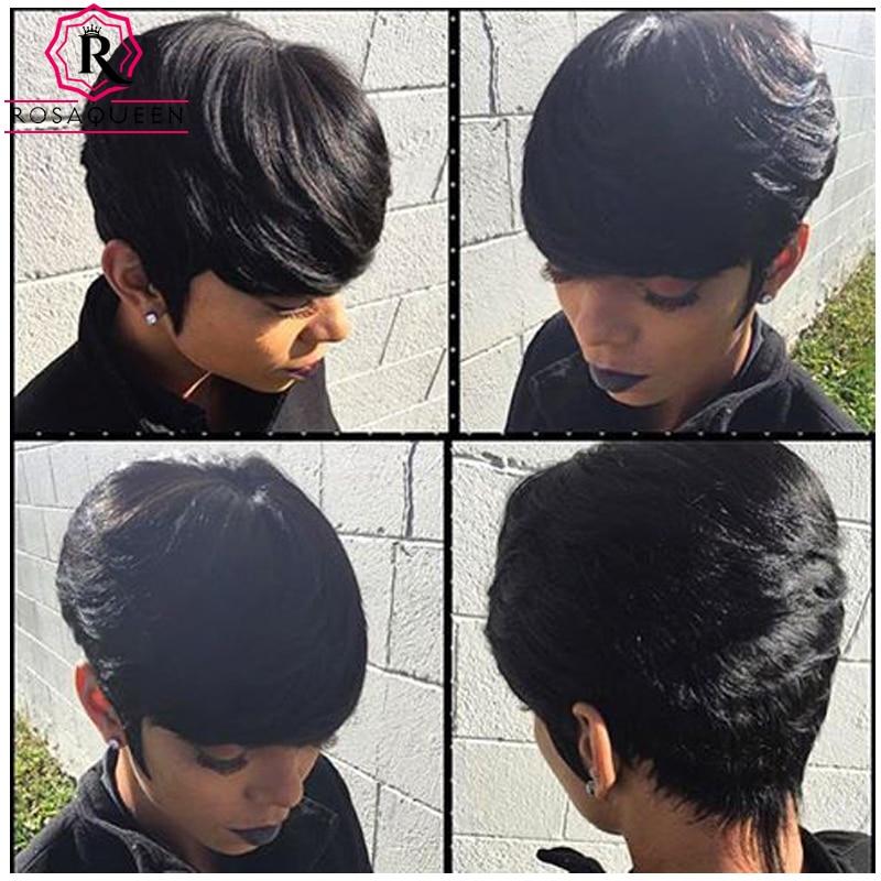 a straight brazilian virgin hair pieces short human