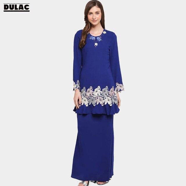 Advanced Customization Wholesale Baju Kurung 2018 Women Fashion O-Neck  Elegant Lace Muslim Sets Ramadan Long Dress MOQ 100PCS d1a0cf442af1
