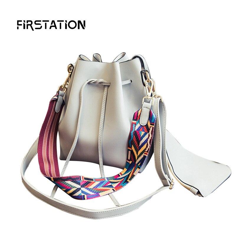 ФОТО Fashion 2 In 1 Colorful Wide Belt Women Shoulder Bags Bucket Women Cross Body Bags String Female Messenger Bags  Canta Wm0409