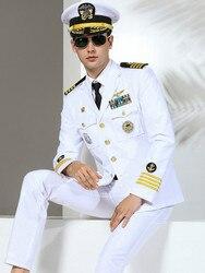 Di alta Qualità Degli Uomini di Suirts Militare Slim Fit Suit Navy uniforme di Marca di Modo di Capitano di prestazione Della Fase abbigliamento costumi Del Partito