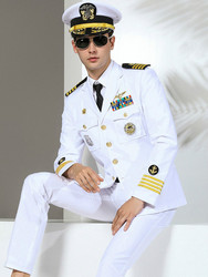 High Quality Men Suirts Military Slim Fit Suit Navy uniform Fashion Brand Stage performance Captain clothing Party costumes