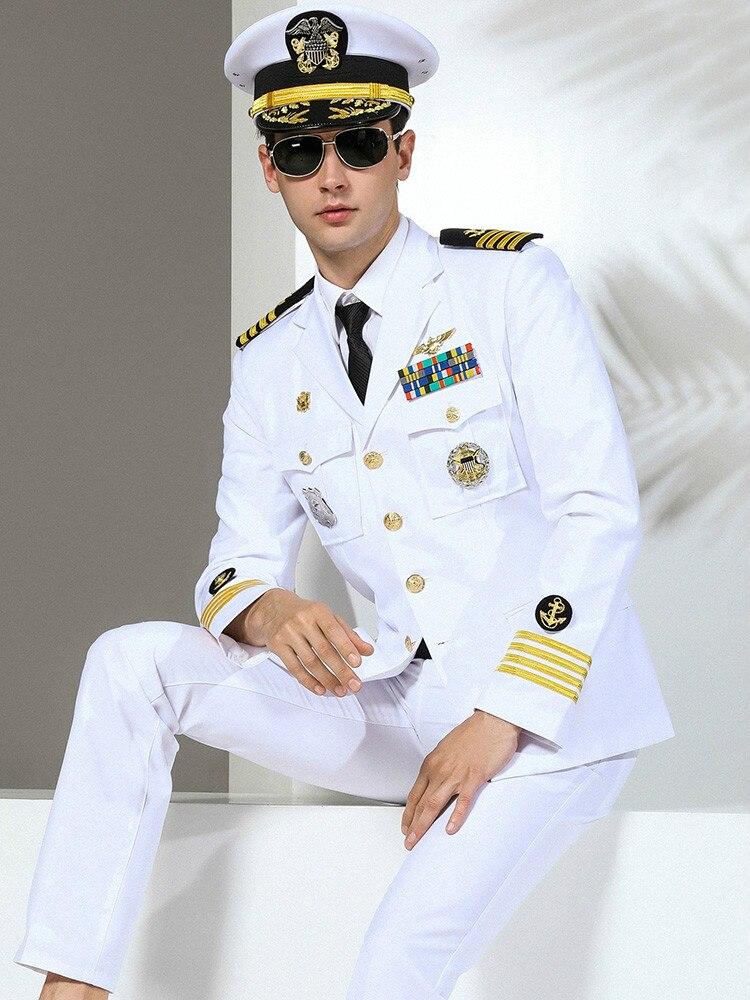 Trajes militares de alta calidad para hombre, traje ajustado militar, uniforme de la Marina, moda, actuación de la marca, Capitán, ropa, trajes de fiesta