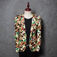 Mens Apple Printed Mixed Colors Bar Singer Clubwear Jackets One Button Lapel Collar Suit Blazer Coat Plus Size