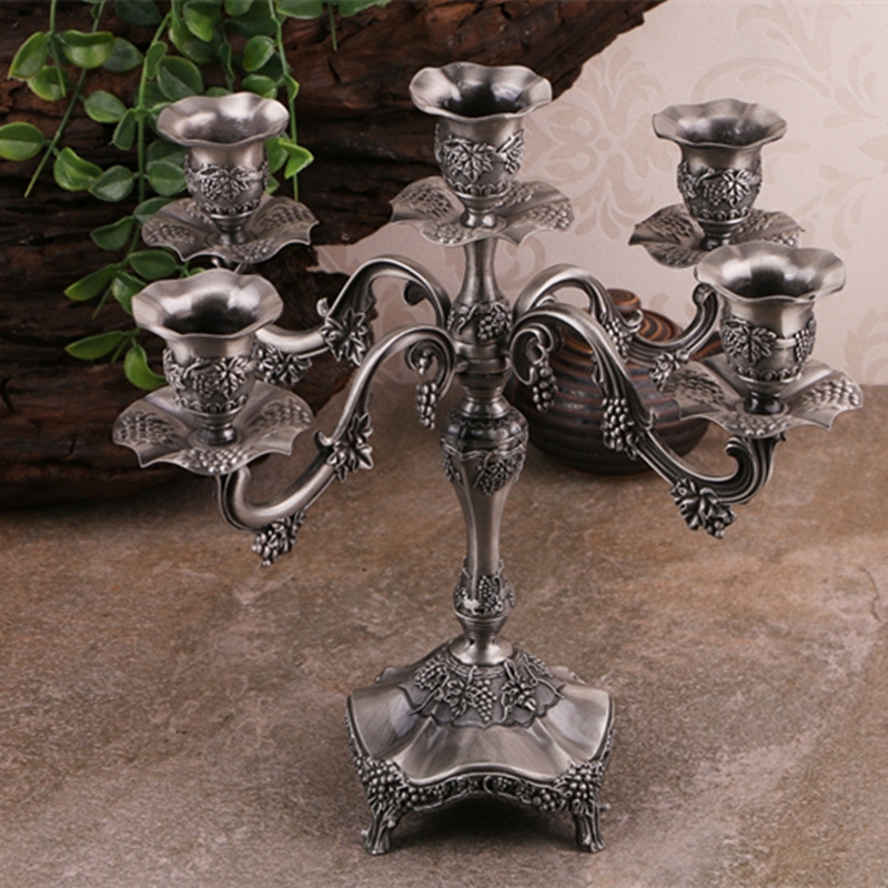 french home decor 5 arm silver candelabra baroque style vintage votive candle holder - Baroque Home Decor
