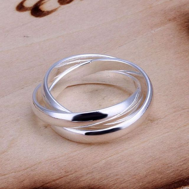 free shipping 925 jewelry silver plated ring,high quality , Nickle free,antiallergic triple circle ring tmyq kwdd