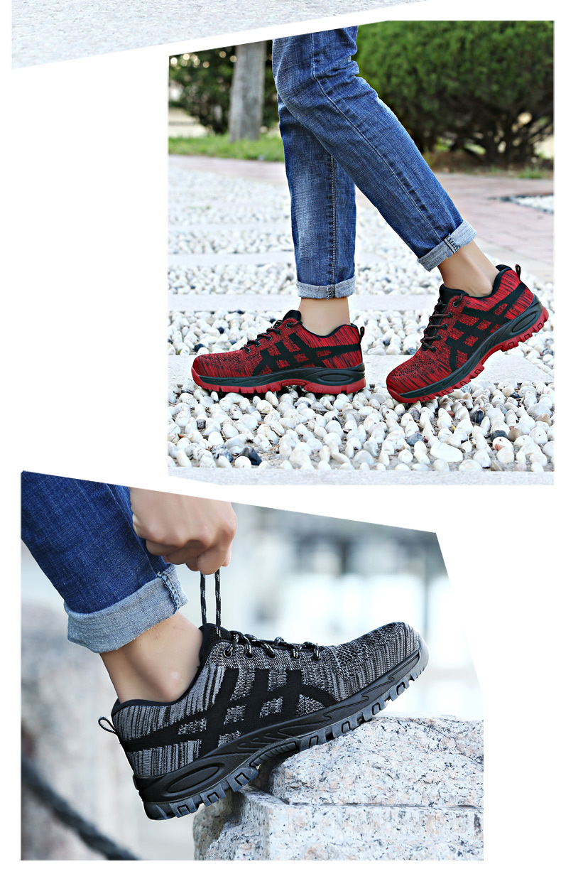 Высококачественная защитная обувь со стальным носком; Мужская Рабочая обувь; унисекс; дышащая рабочая обувь из сетчатого материала; большие размеры 37-46; резиновая обувь