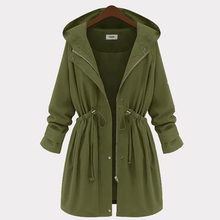 PlusMiss Plus size 4XL autumn and winter long section Hooded Trench Coat women's shirt windbreaker coat