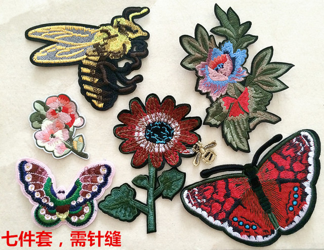 7 pz set fiore con ape e farfalla ricamato patch applique patch di