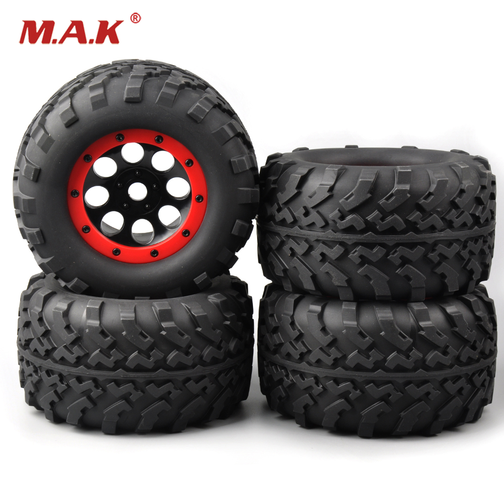 4 PCS/Set Rubber rubber wheels for toys Bigfoot Tires Tyre Red Wheel Rim For 1/8 Rc Truck Car 3011 rc car tire & wheel wholesale 2pcs lot for robot 1 10 rc car rc rubber tires tyre