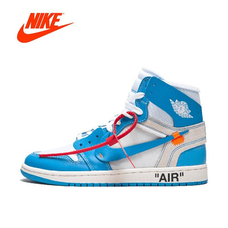 Оригинальный Новое поступление Аутентичные NIKE Air Jordan 1 X Off-White Для мужчин Мужская Баскетбольная обувь кроссовки AJ1 хорошее качество AQ0818-148
