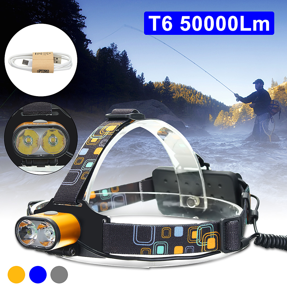 15000 Lumens LED Headlamp Waterproof Fishing Headlight USB Rechargeable Head Light Use 2*18650 Batteries Lamp For Camping usb rechargeable headlight cob led headlamp 3 modes head torch flashlight for camping use 2 18650 batteries