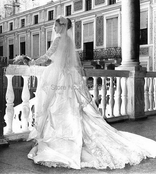 Jahrgang Grace Kelly hochzeitskleid langarm stehkragen spitzenabschluss  schicke brautkleider satin mit langer schleppe in Jahrgang Grace Kelly ...