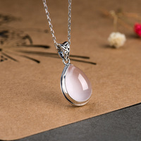 Genuine 925 Silver Rose Quartz Pendant For Women Natural Gemstone Water Drop Shape Necklaces & Pendants Colgante Mujer