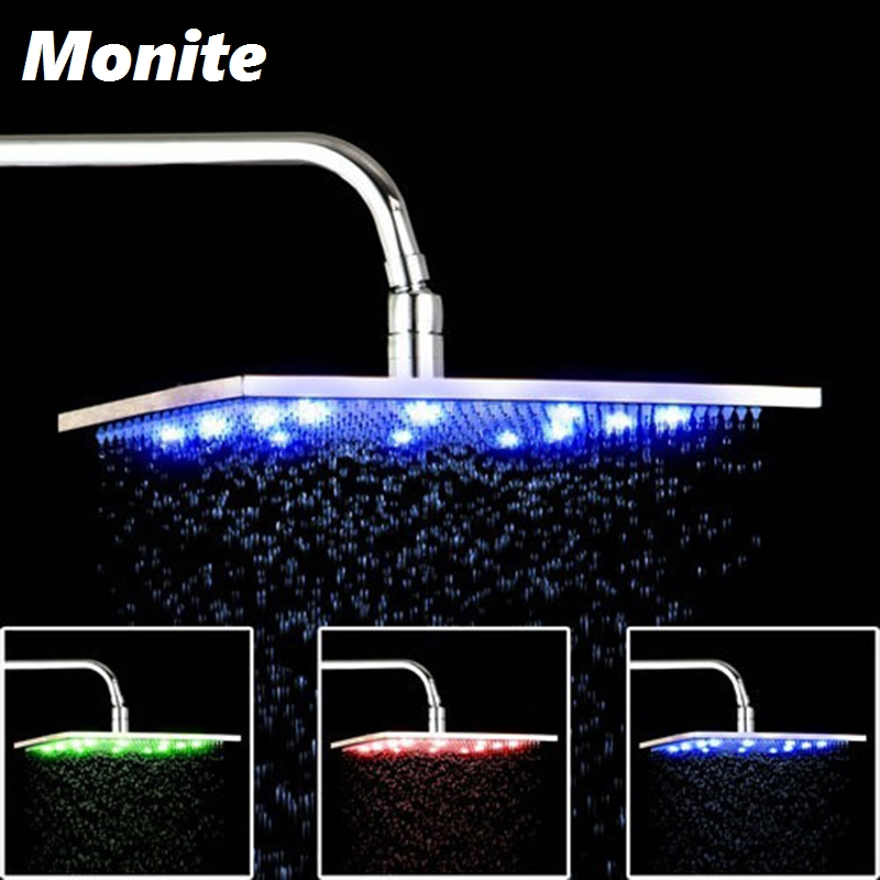 12 LED Light Shower Head Water Power NO Need Batteries Chrome Bathroom Basin Sink Faucet Mixer Tap Shower Head