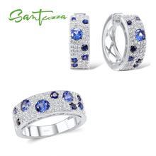 SANTUZZA Conjunto de joyería para mujer, precioso conjunto de anillo y pendientes de Nano CZ azul, conjunto de joyería brillante de 100% Plata de Ley 925 auténtica