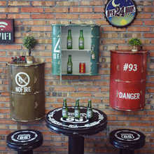 Vintage Industrial Iron Wine Rack Drum Ornaments Creative Bar Home Furnishing Mural Wall Decoration Storage Paint Bucket Hanging