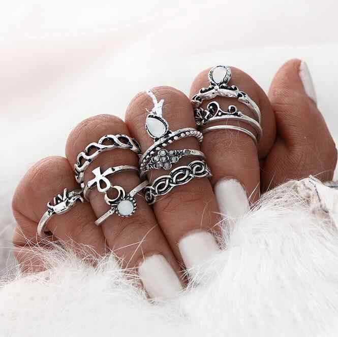 New Fashion European and American trade exaggerated retro ring ten sets of small gem fairs 10pcs/set    8CRD102