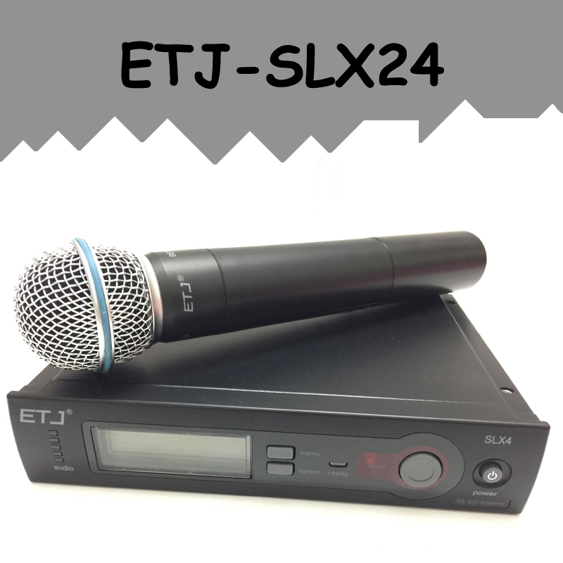 ETJ Brand SLX24/BETA58 58A Professional UHF Wireless Dual Microphone System microfone sem fio  professional vhf dual wireless microphone system mic for shure karaoke singing ktv stage conference computer microfone sem fio