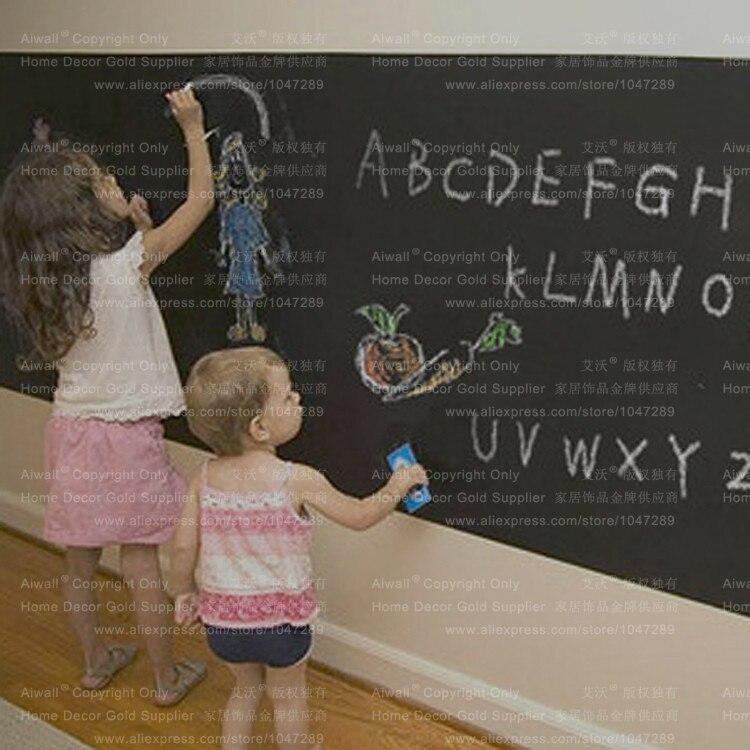 DIY Blackboard Whiteboard Greenboard Sticker Waterproof Vinyl Chalkboard Removable Wall Stickers with 5 Chalks Free Shipping