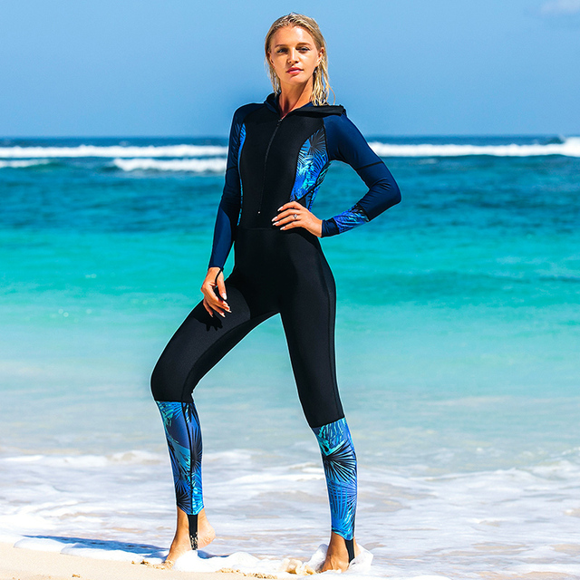 SBART siamese swimsuit female Tights long sleeve diving suit jellyfish clothing diving suit female siamese swimwear wetsuit – 8076