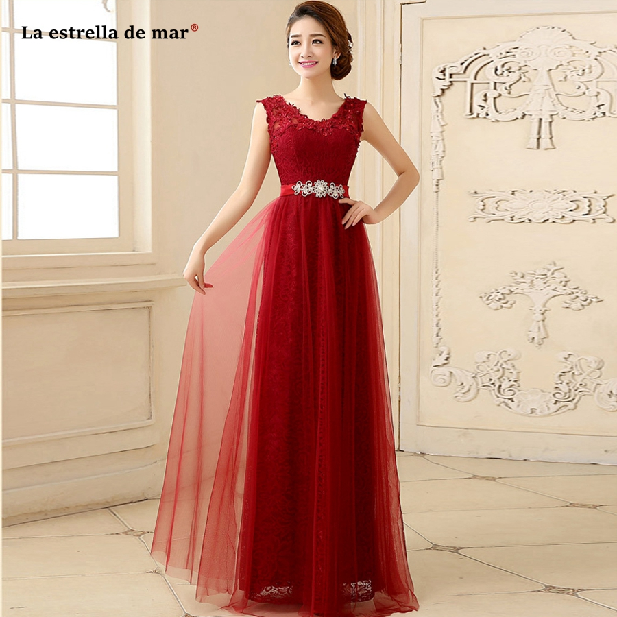 Vestido madrinha 2019 new sexy V neck lace a Line peach red burgundy   bridesmaid     dresses   long beautiful sukienki weselne