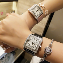 Exquisite Lady's Quartz Watch Watch Square Full Diamond Female Watch Arabic Numerals Digital Scale And Genuine Leather Watchband все цены