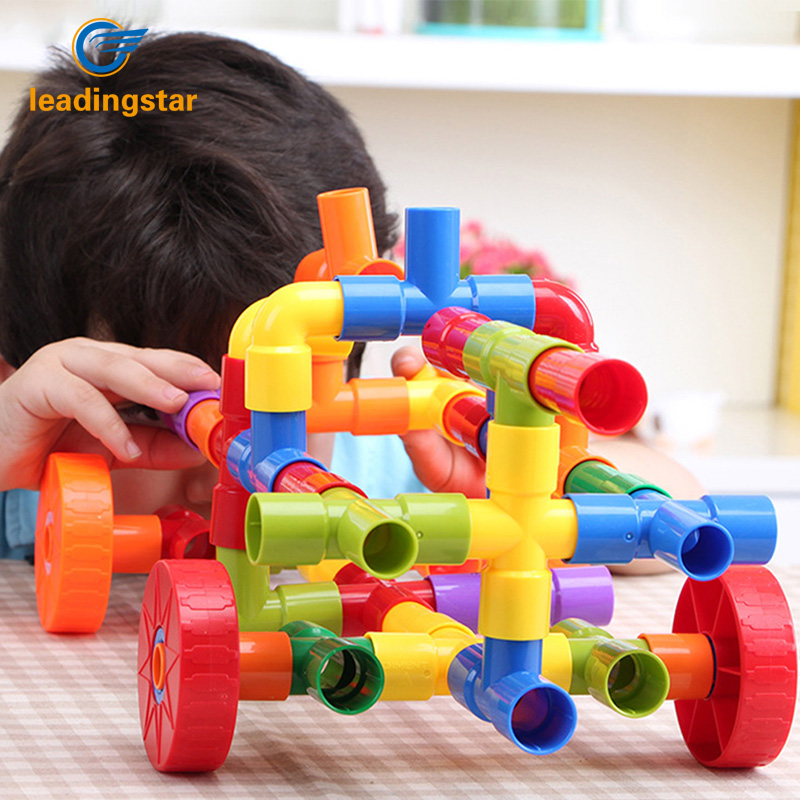 LeadingStar Children Educational Plastic Tube Waterpipe Pipeline Building Construction Toys Set 72 Blocks zk30