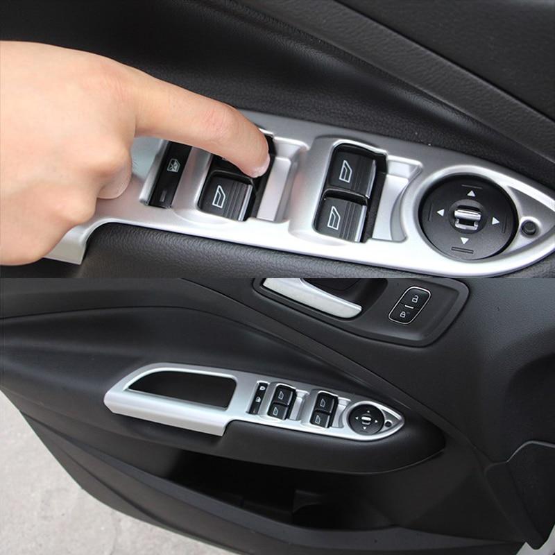 Pour Ford Escape Kuga 2017 2018 ABS mat poignée de porte intérieure accoudoir lève-vitre interrupteur panneau couvercle garniture accessoires LHD 4 pièces