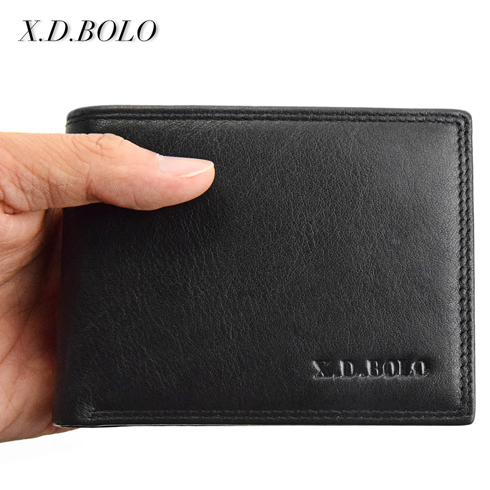 X.D.BOLO Fashion Leather Mens Small Wallets Card Holders Purse Soft genuine leather Mini Coins Wallet Men цена