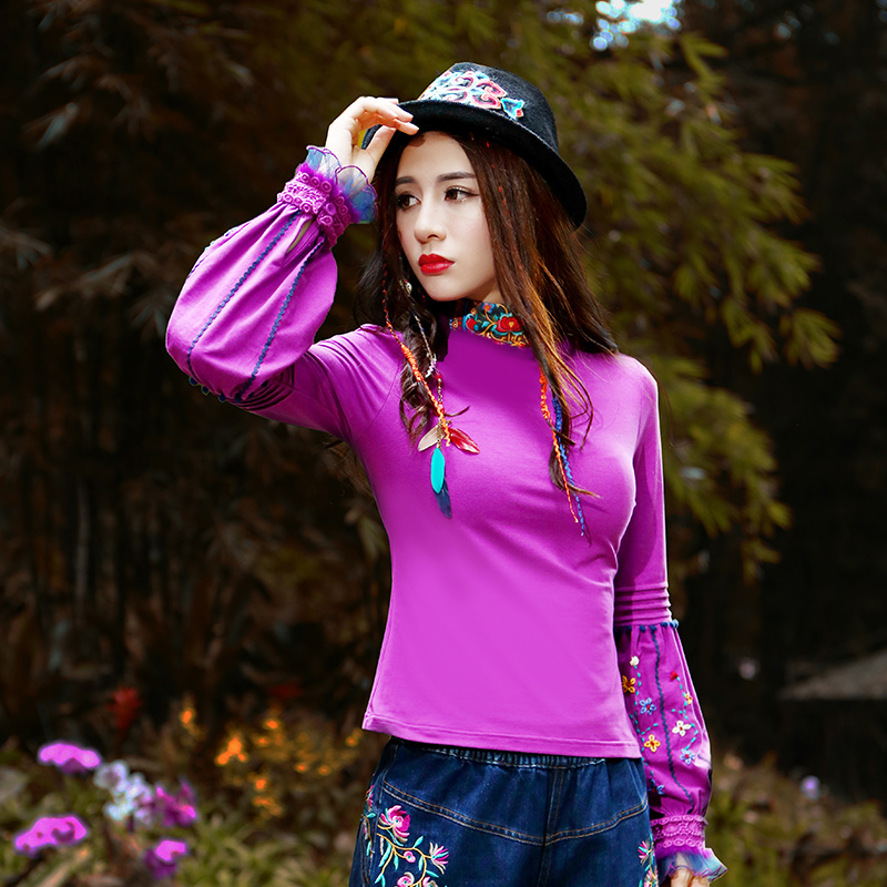 Livraison gratuite 2018 nouveau Vintage Style chinois broderie fleur à manches longues lanterne T-shirt haut pour femme M-2XL chemise dames t-shirts