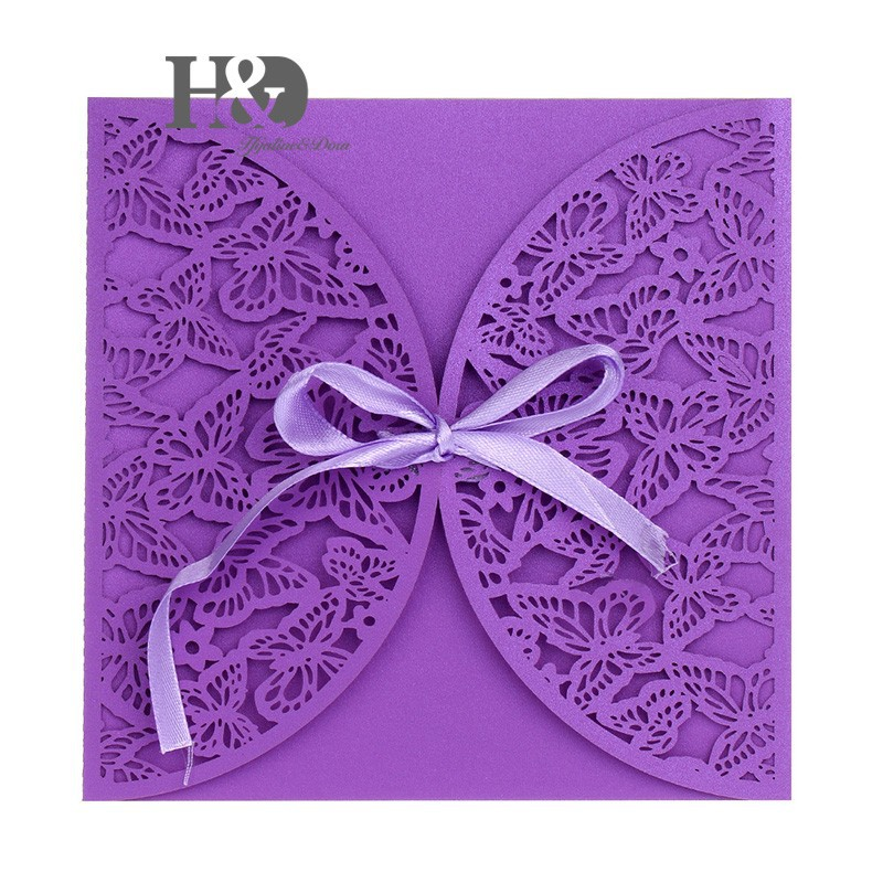 600PCS/lot Purple Laser Cut Butterfly Wedding Invitation Cards Party ...