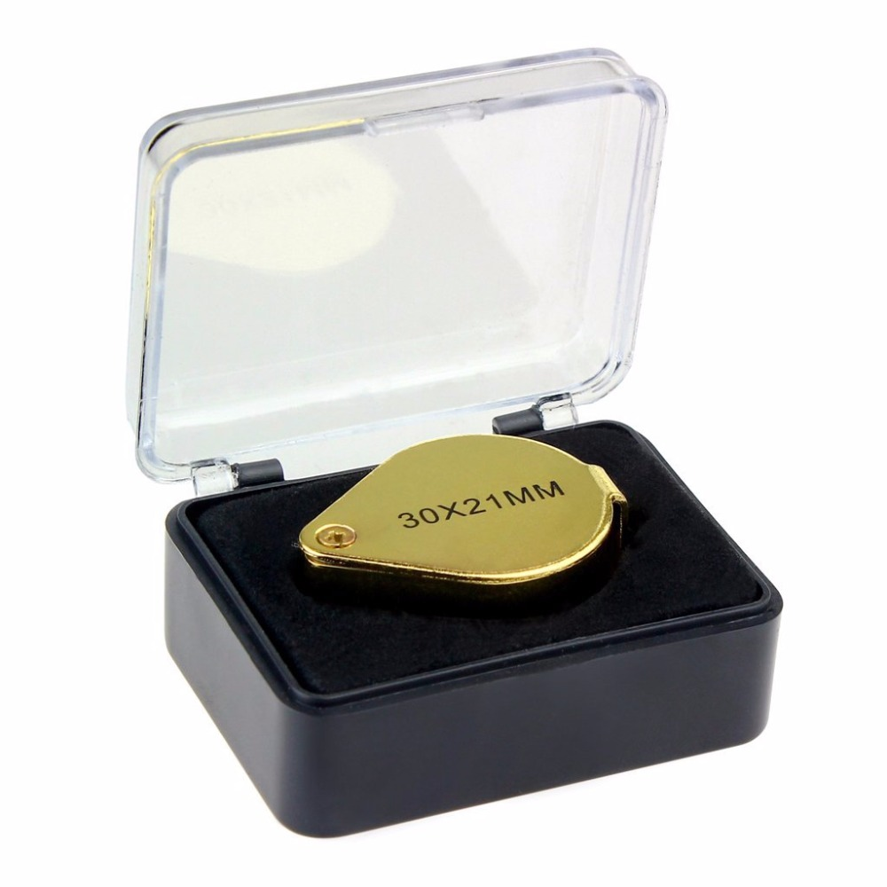 5pcs/lot 30 X 21mm Glass Jeweler Loupe Loop Eye Magnifying Magnifier Metal Body Golden Silver With Box