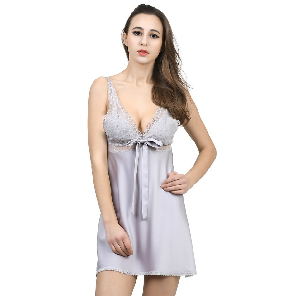 Solid Satin Chiffon Women   Nightgowns   Sexy Lace   Sleepshirt   Summer Nightdress Chemises Nightshirt Sleepwear Nightwear Slips