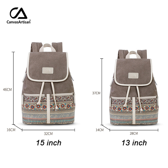 Canvasartisan Top Quality Canvas Women Backpack Casual College Bookbag Female Retro Stylish Daily Travel Laptop Backpacks Bag 4