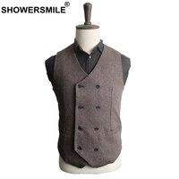 SHOWERSMILE Mens Tweed Vest Wool Male Suit Vest Vintage Double Breasted Waistcoat Autumn Winter Brown British Style Men's Vests