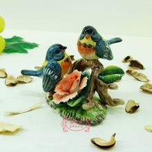цена на blue ceramic flower bird dolls figurines home decor ceramic kawaii ornement crafts room decoration porcelain animal figurine