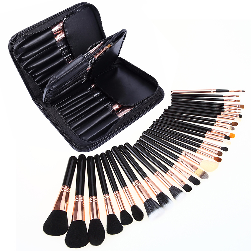 29 pc Luxury natural Horse & Goat Hair Makeup Brushes Set eyeshadow powder Make Up Beauty Tool Kit Professiona Foundation Puff ...