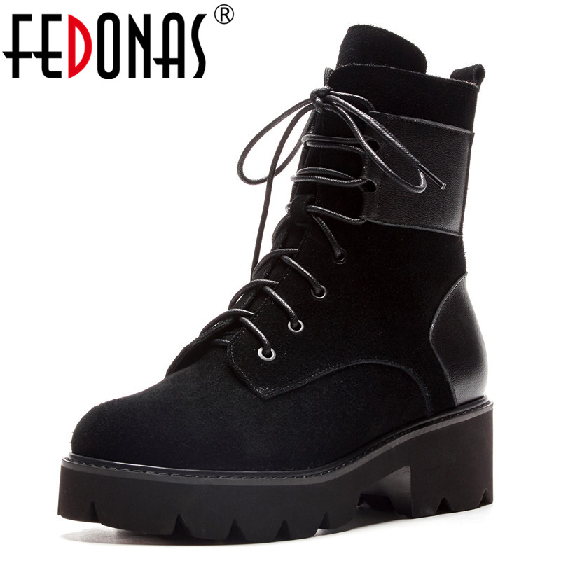 FEDONAS Fashion Brand Women Ankle Boots Thick High Heels Autumn Winter Motorcycle Boots Punk Zipper Party Night Club Shoes Woman fedonas brand women ankle boots punk high heels metal decoration party night club boots genuine leather martin shoes woman