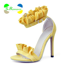 S.Romance Women Sandals Size 34-43 Supper High Heels Ruffles Ankle Wrap Pointed Toe Women's New Fashion Summer Shoes SS016(China)