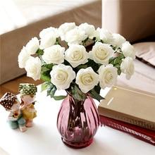 10 головы Настоящее прикосновение латексные розы цветы для украшение в виде свадебного букета 6 цветов на выбор