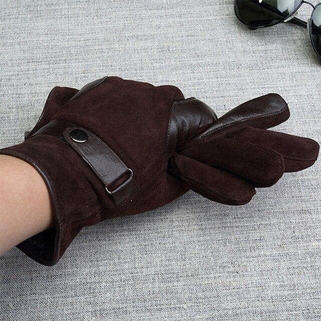 c04418fd19 Marca de cuero genuino hombres guantes de piel de cabra de alta calidad  guantes de gamuza