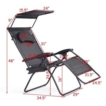 Surprising Folding Recliner Lounge Chair W Shade Canopy Cup Holder Inzonedesignstudio Interior Chair Design Inzonedesignstudiocom