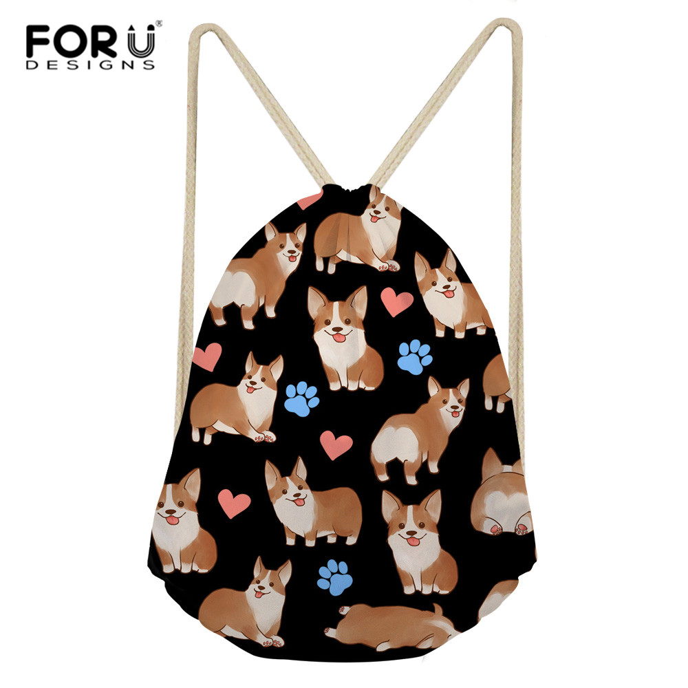 FORUDESIGNS Corgi Mermaid Drawstring Bag Backpack Flowers Dog Teenagers Backpacks Unisex Travel Storage Package Shoulder Bag