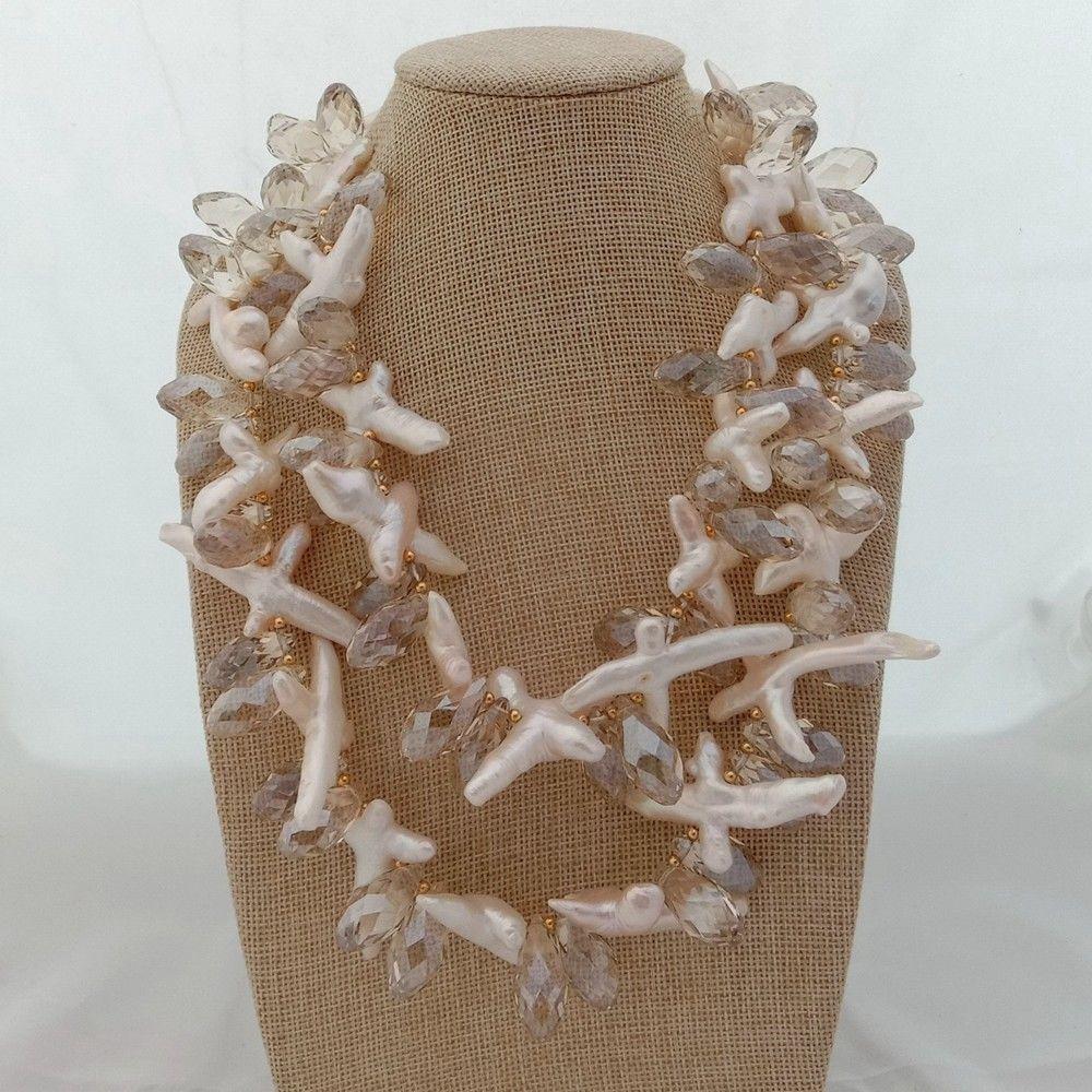 Collier 2 brins croix blanche Keshi perle cristal 18