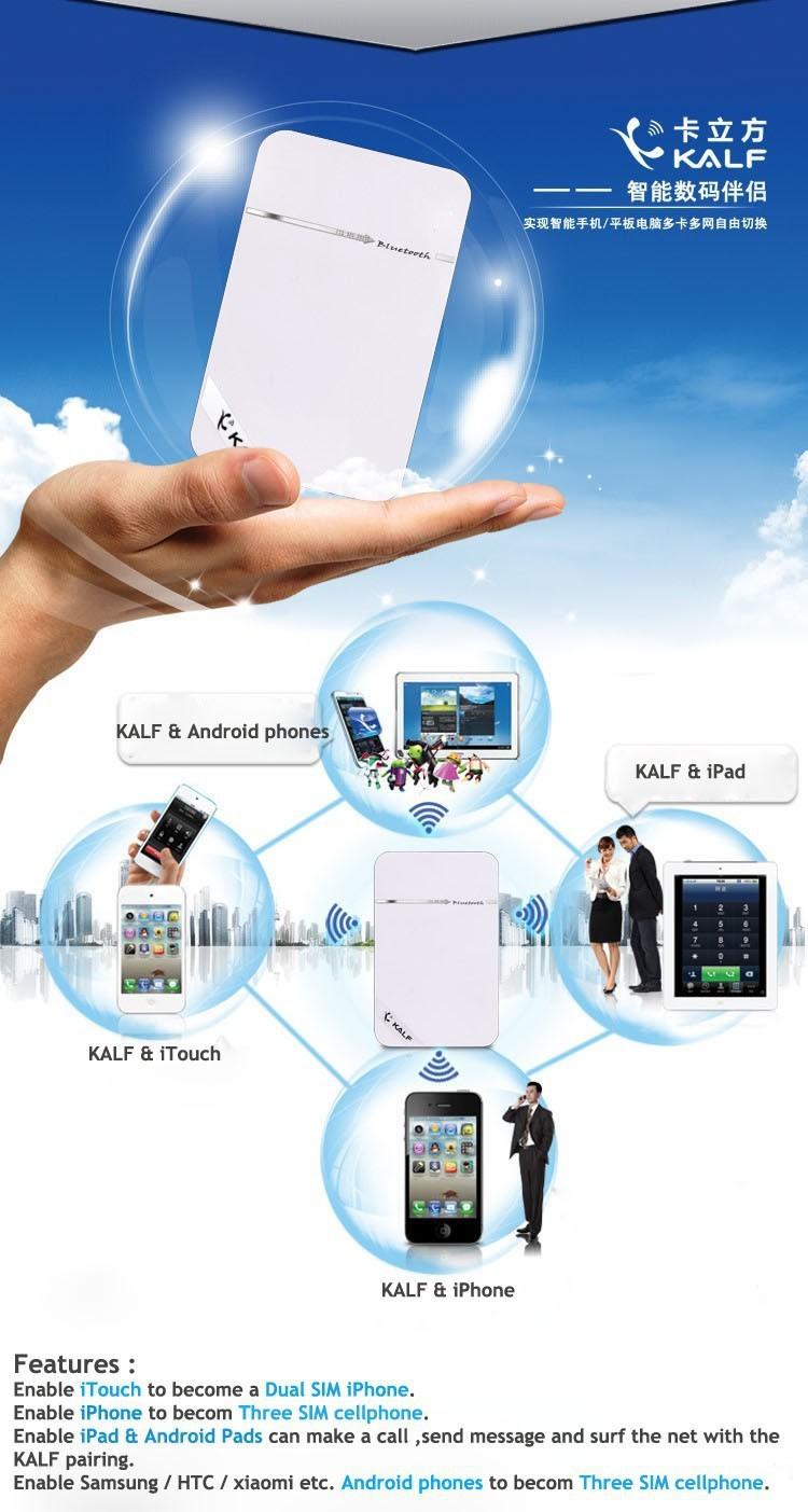 Kalf Bluetooth Multi SIM Card Adapter For iPhone iPad iPod