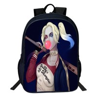 2017 Hot Sale DC Comics Suicide Squad Harley Quinn Women Backpack Teenagers Girls Backpacks Kids School